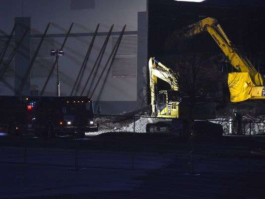 Heavy equipment is seen outside of the Gap Inc. distribution center in Fishkill on Saturday, Dec. 10, 2016. (Poughkeepsie Journal photo)