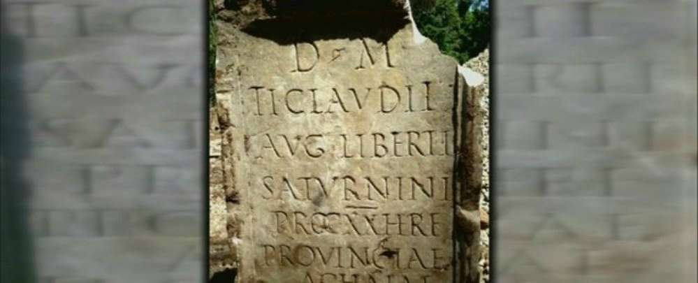 An ancient Roman tombstone with Latin script on it that researchers say was crafted around 54 AD, nearly 2,000 years ago.