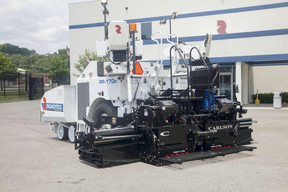 The Roadtec RP-170e is a rubber-tire Highway Class, asphalt paver.