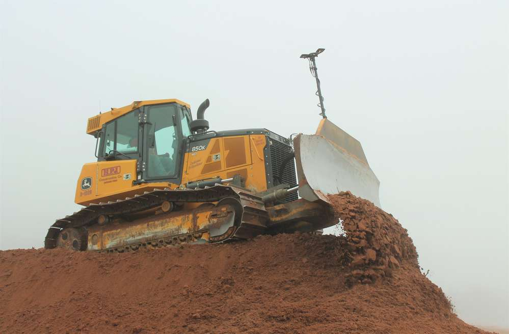 The John Deere 850K dozer, equipped with TopCon technology, is part of the team of machines working on the Oakridge Dairy LCC expansion.