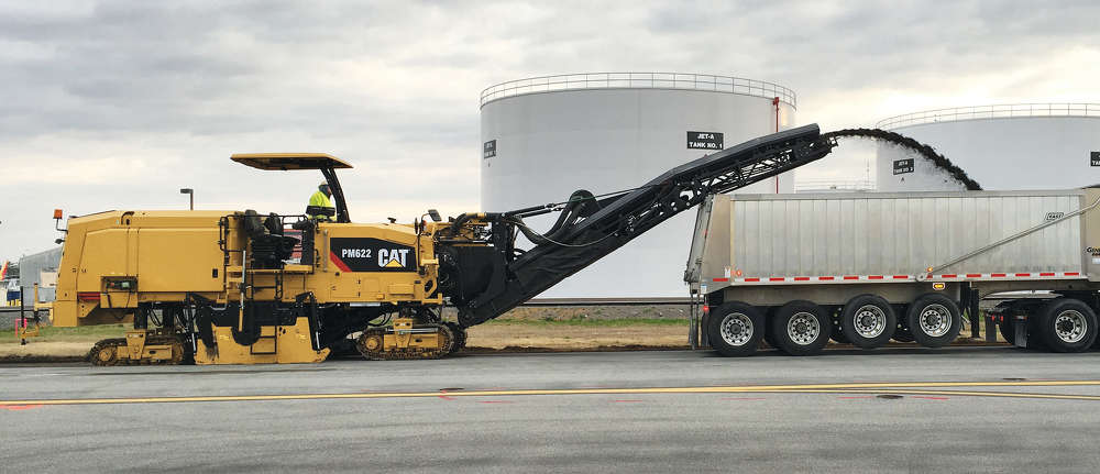 The full line of Cat paving products is represented at CONEXPO, with emphasis on three new cold planers—PM825, PM622 (pictured) and PM312.