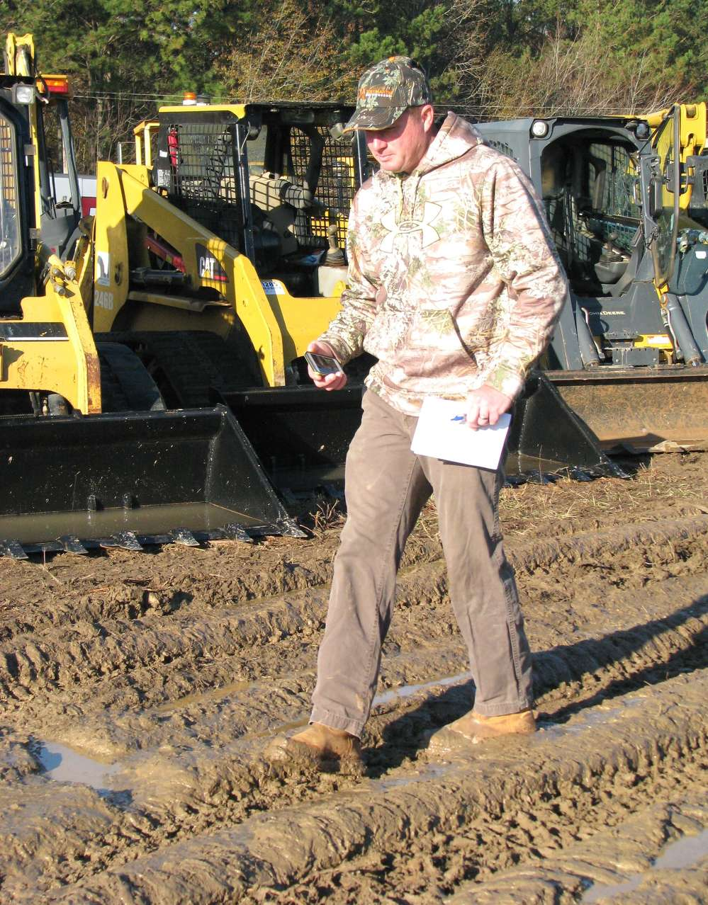 After weeks of dry weather in the region, Micah Butler,  local Carrollton, Ga., contractor, was unfazed by the muddy conditions from the recent rain.