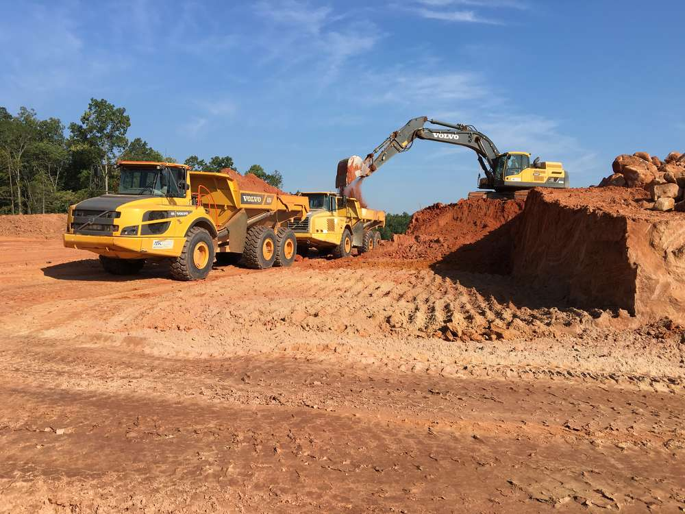 The company has been using two Volvo 25 -ton trucks on its Overlook at Barber Rock project in Lancaster, S.C. The company is moving about 250,000 (191,138 cu m) cu. yds. of material.