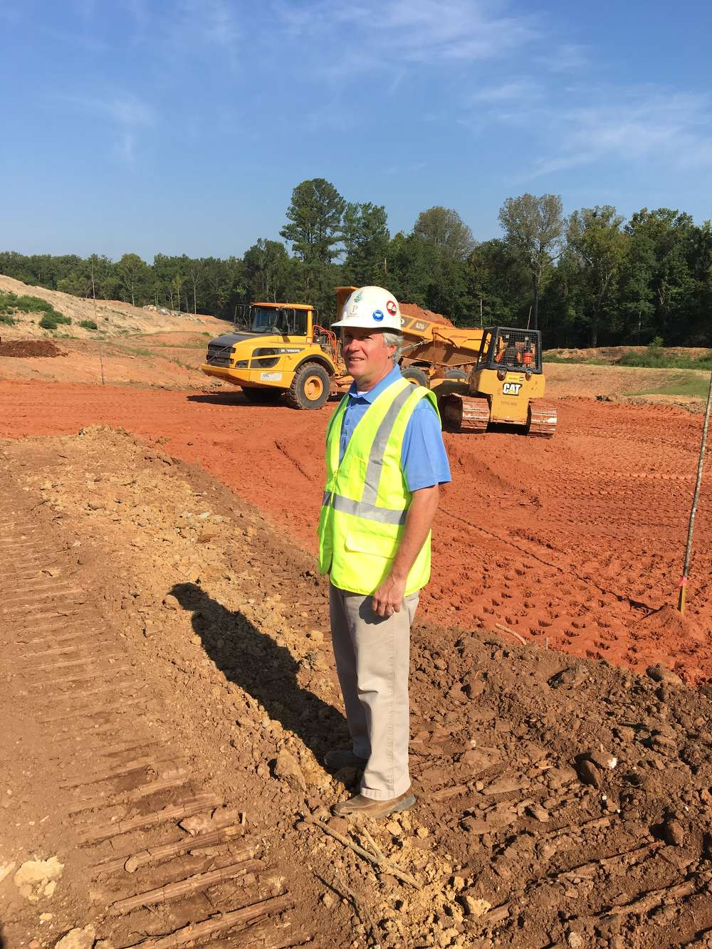 Dan Purcell, owner of Purcell Construction, Fort Mill, S.C., on the job at the Overlook at Barber Rock development in Lancaster, S.C.  It's a 30-acre project for Bontera Builders.