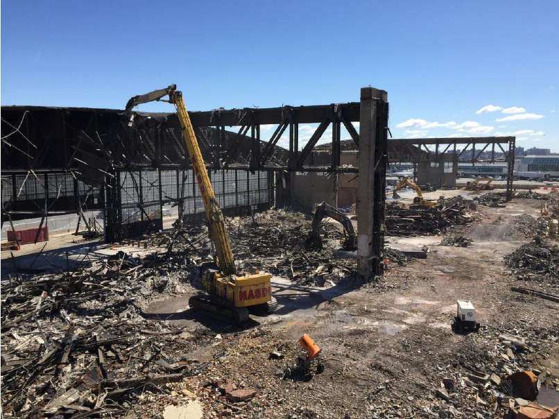 A view from Hanger 2 of demolition and site prep for LaGuardia Central.