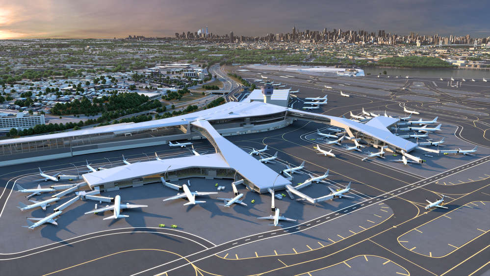 Key features of the new LaGuardia Central include pedestrian bridges over the active taxi lanes with sweeping views of the airfield and the Manhattan skyline beyond.