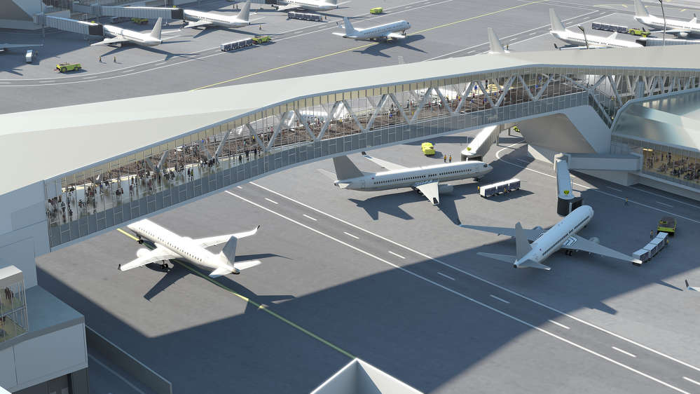 The first of its kind in the world, LaGuardia Central will feature dual pedestrian bridges spanning active aircraft taxi lanes, allowing for improved aircraft circulation and gate flexibility.