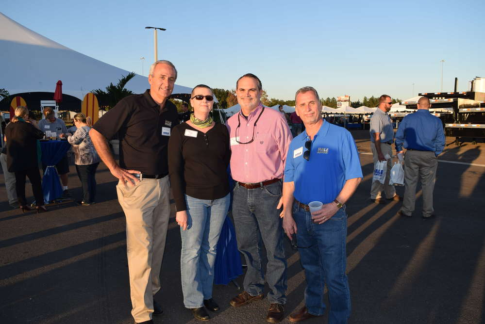 (L-R) are Tom Weaver, general manager of the Jacksonville branch; Gina Ayers and Gary Ayers, Sterett Heavy Hauling; and Joe Frankenfield of Hale Trailers.