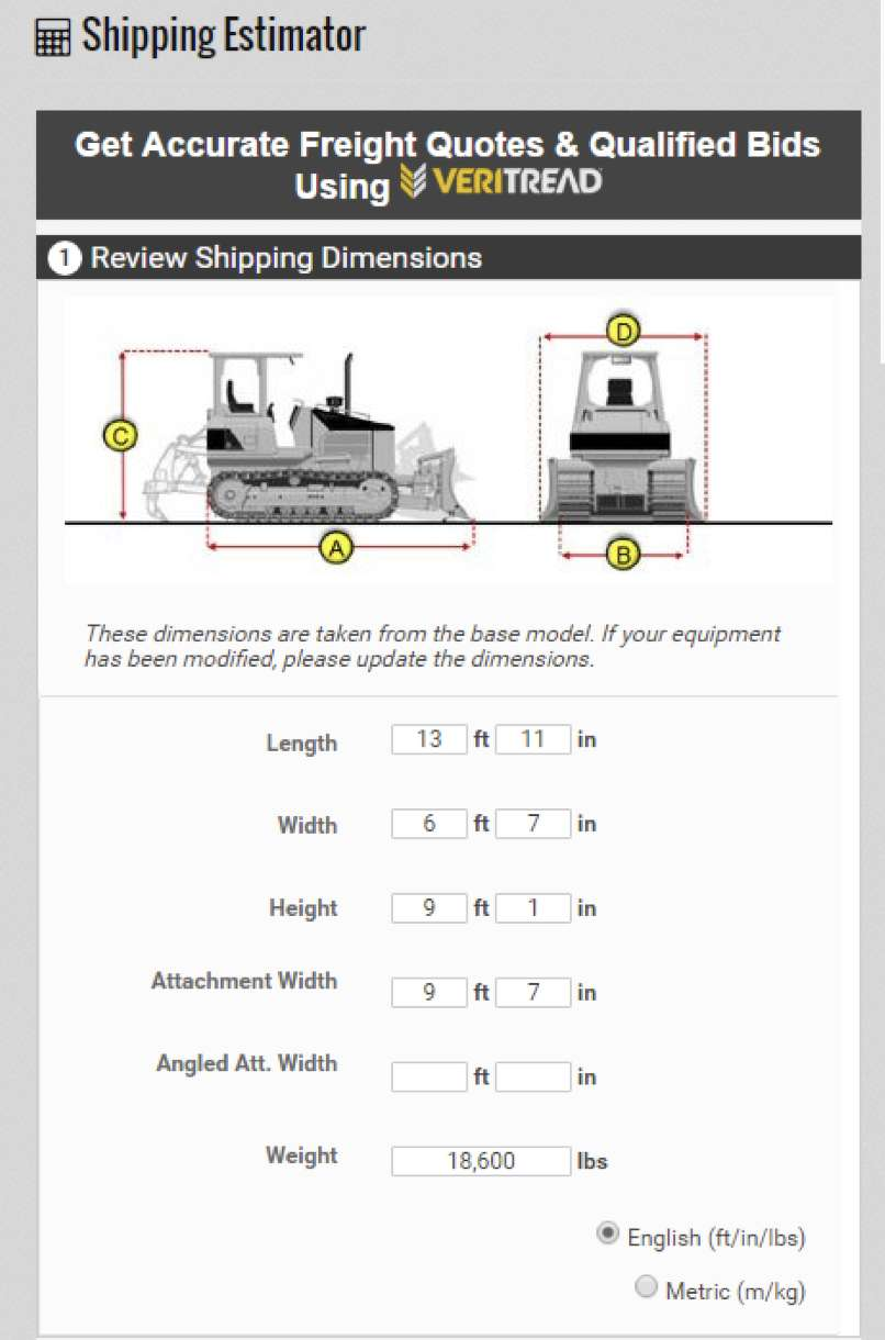 The VeriTread shipping calculator automatically calculates size and weight to get the most accurate freight estimates in the industry.