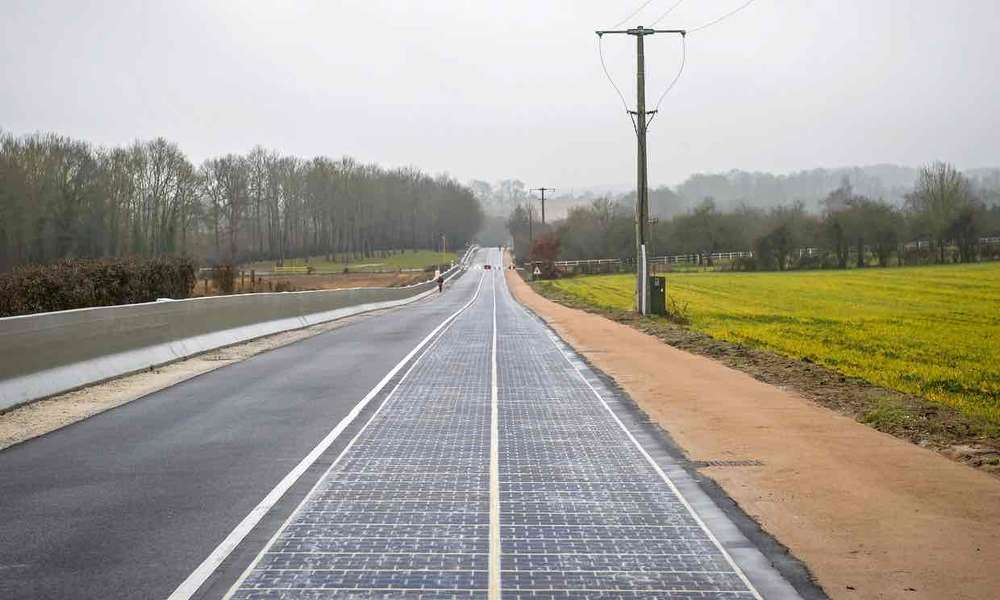 A solar panel road has been opened in a Normandy village.