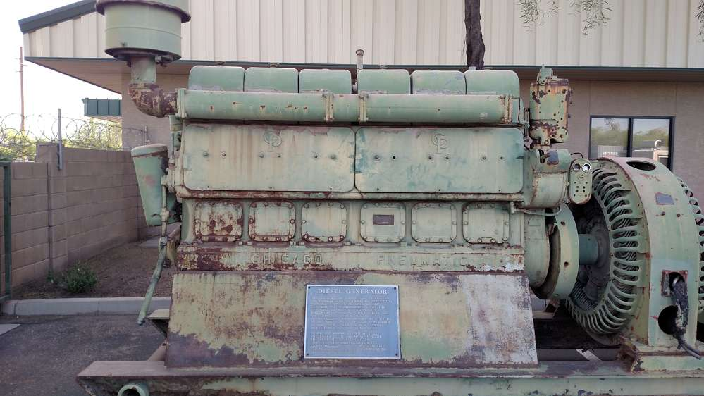 This 1943 Chicago Pneumatic diesel generator was used on floating dry docks in World War II.