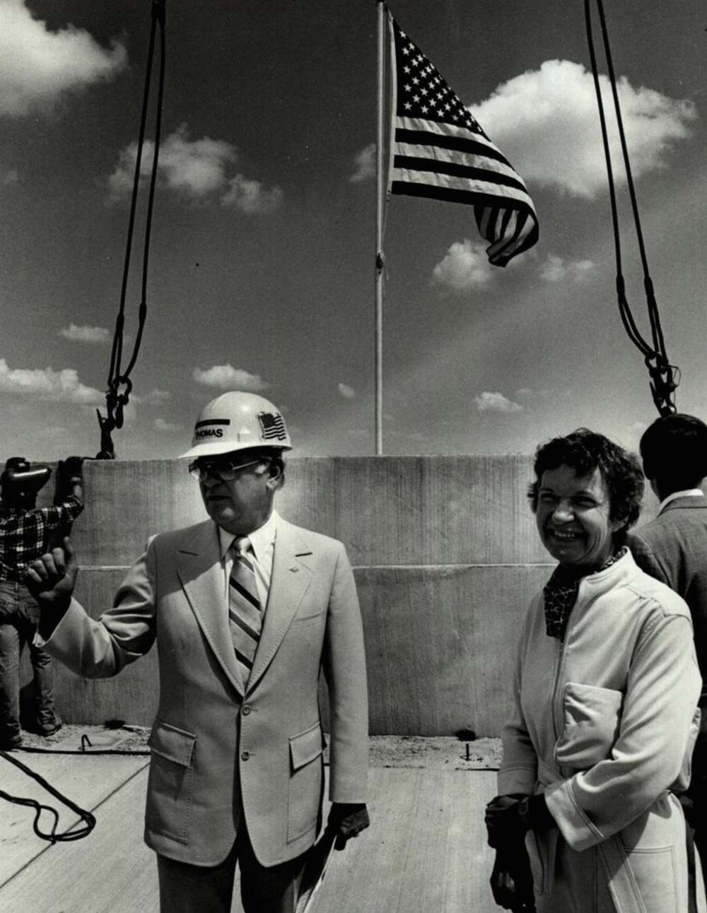 July 10, 1981: Several dignitaries including Oklahoma City Mayor Patience Latting, right, were on hand for the topping-out ceremony for the new multi-level parking garage at Will Rogers World Airport. [Photo by Roger Klock, The Oklahoman Archives]