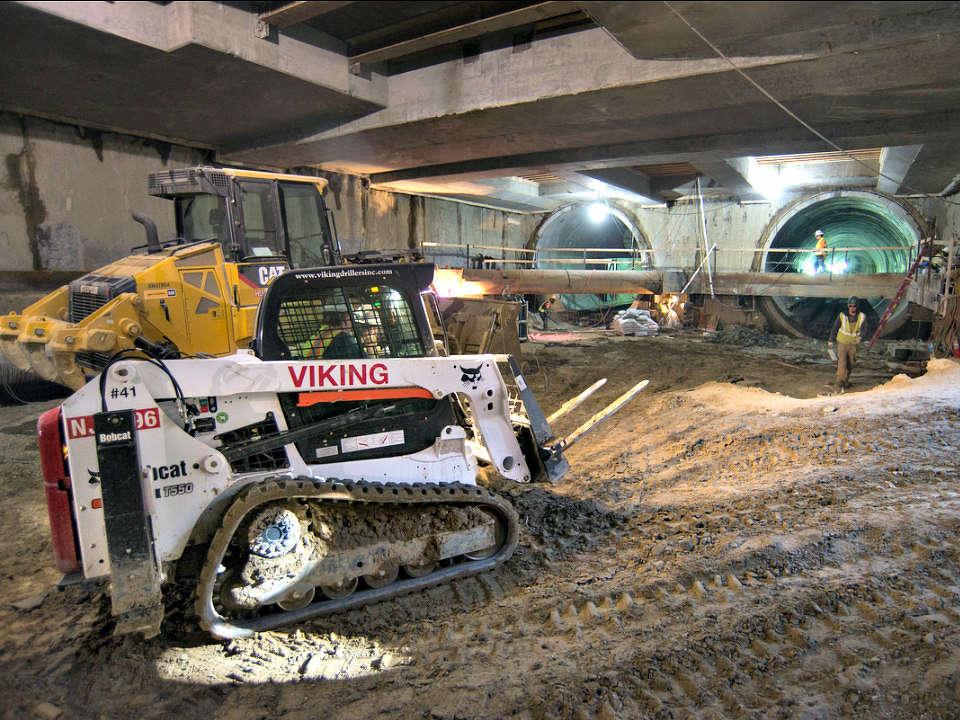 Construction equipment deep below Fourth Street. http://url.ie/11no6
