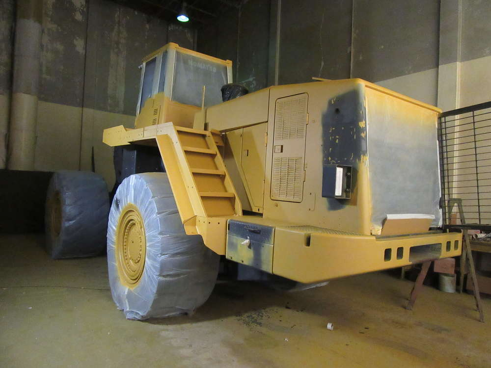 This Komatsu WA600-6 wheel loader is prepped for paint.