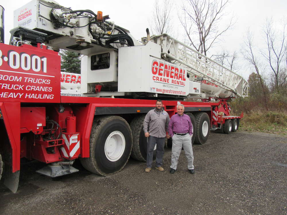 Bob Krenciglova (L), general manager of General Crane Rental LLC, and Dan Manos, owner of General Crane Rental LLC, say the company's new Grove GMK5275 has opened the door for additional business.