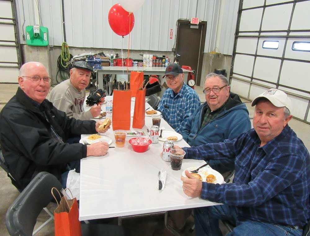 (L-R): Lee Pletcher, LaVergne Pabian, Gary Cartel, Ray Gosnell and Henry Bailey, all of Car Nut Snow Removal, enjoy lunch at Bobcat Enterprises Reynoldsburg branch.