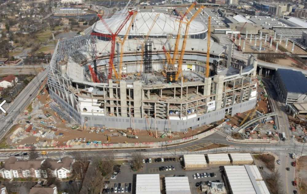 The Mercedes Stadium construction site will be the home of the Atlanta Falcons.