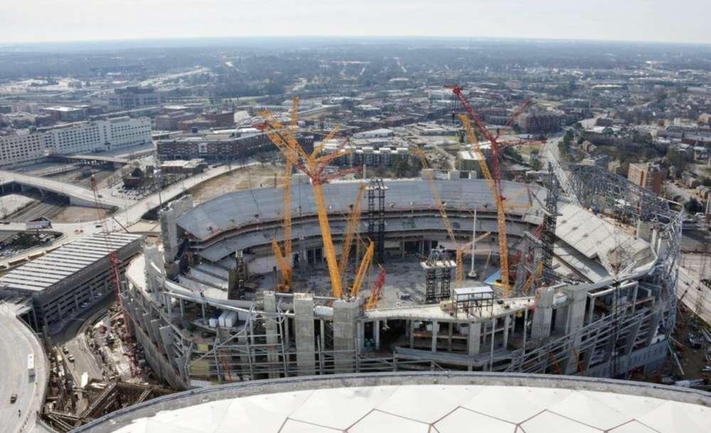Mercedes Stadium construction continues.