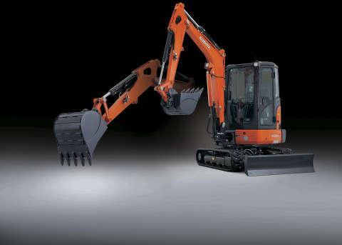 Kubota KX033-4 compact excavator.