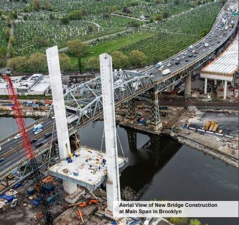 Aerial view of the new bridge construction at main span in Brooklyn.