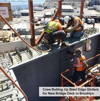 Crew bolting up steel edge girders for new bridge deck.