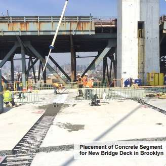 Placement of concrete segment for new bridge deck.