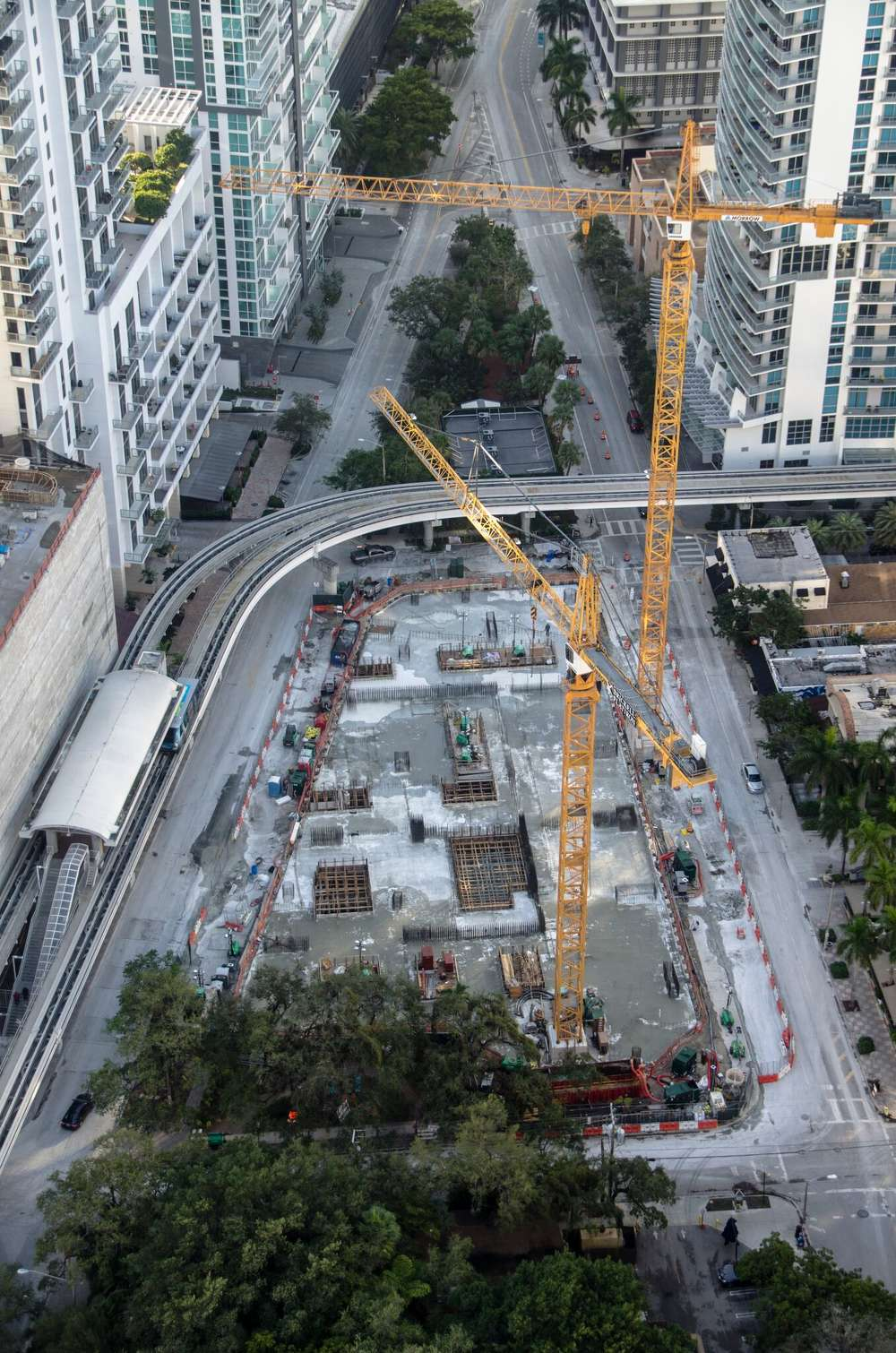 Concrete foundation pour in downtown Miami.