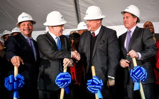 From left, Thor Companies Chairman Richard Copeland, Gov. Mark Dayton, Thor Companies CEO Ravi Norman and Target CEO Brian Cornell shook hands following Tuesday's ceremonial groundbreaking photo op. ] (AARON LAVINSKY/STAR TRIBUNE)