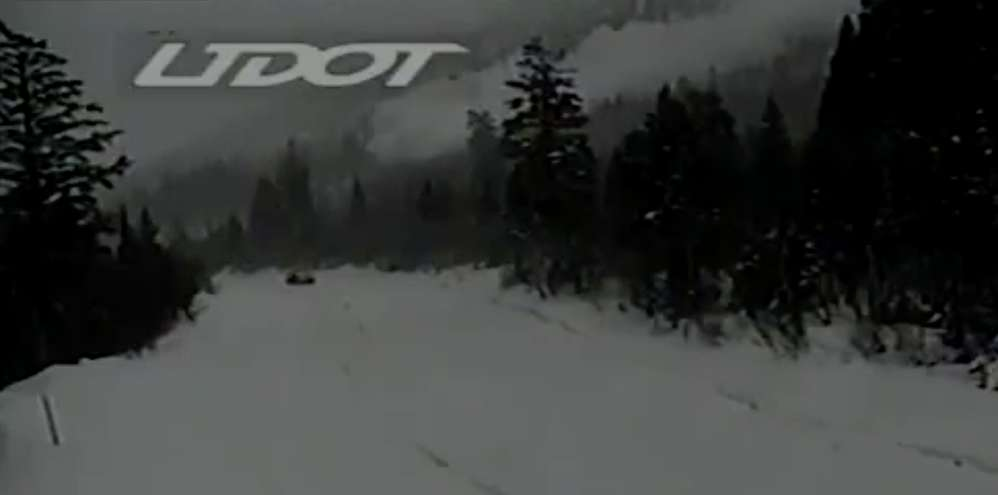 A Utah Department of Transportation traffic camera captured footage of an avalanche spilling down the mountainside.