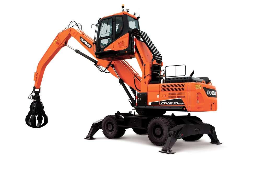 Doosan DX210WMH-5 wheel material handler.