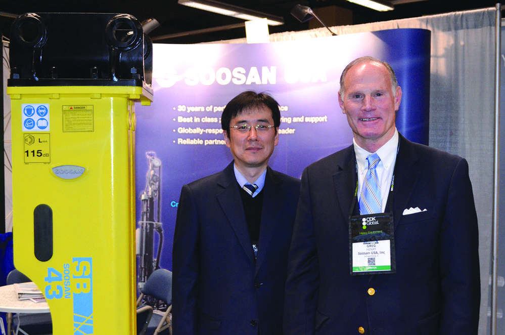 Soosan, one of the largest hammer manufacturers in the world, is looking to expand its dealer network in the United States. Sung Jong Kee (L), director, and Greg Henry, sales manager, both of Soosan.