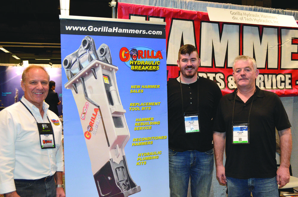 Gorilla Hammers has long used AED as an opportunity to develop new dealers and to strengthen relationships with existing dealers. (L-R): Robert Tedesco, Gorilla Hammers, and Sean Maloney and Jack Maloney, both of Merk Group, Frankfort, Ill.