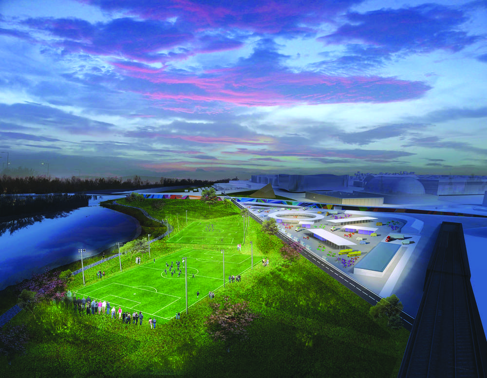 OMA and Robota photo The proposal includes three multi-purpose recreation and community playing fields available to the public and useable in the evening.