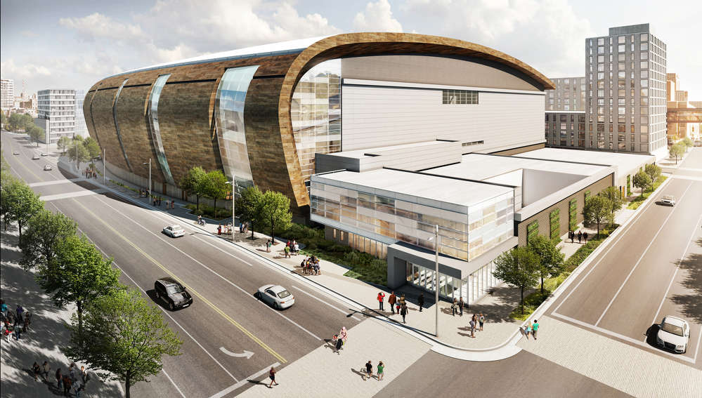 A rendering of the $524 million Milwaukee Bucks Arena/entertainment complex.