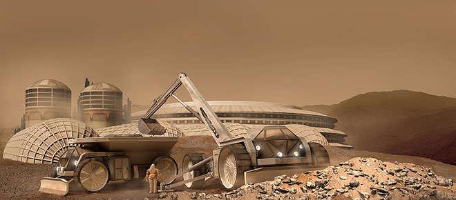 Artist rendering of Mars settlement construction. via http://url.ie/11o4w