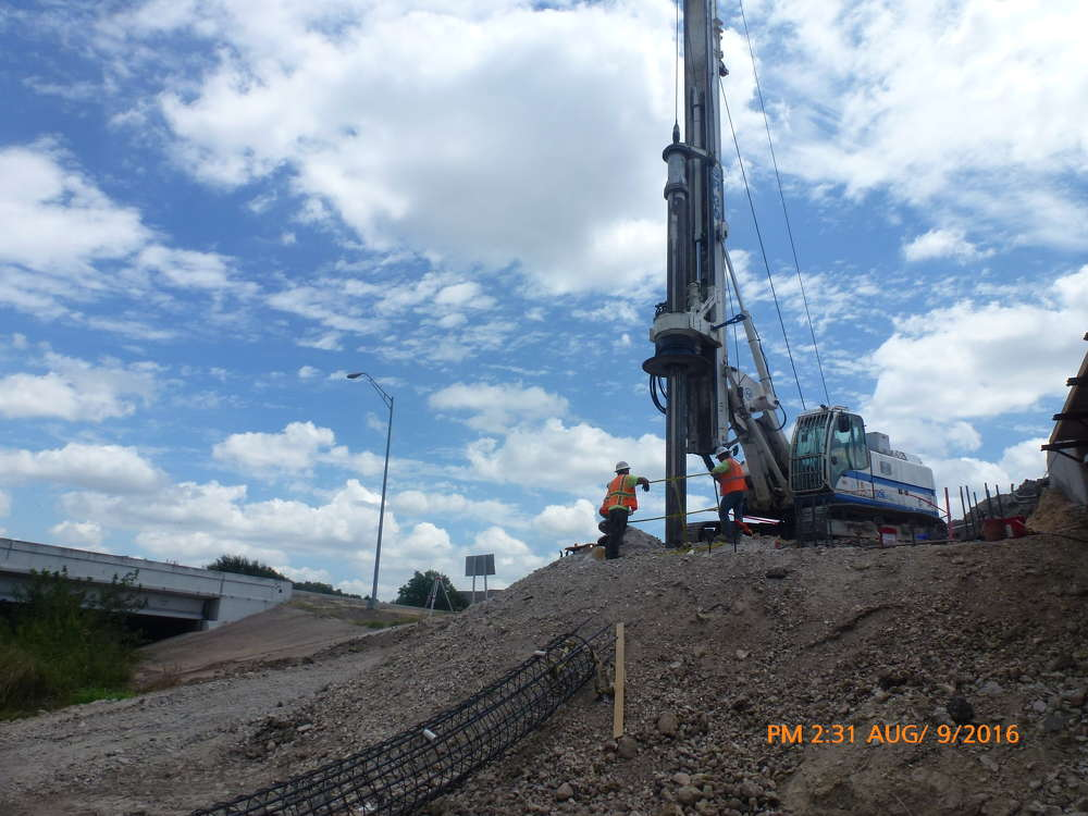 Shafts are being drilled for abutment 5 at Lake Creek Bridge.
