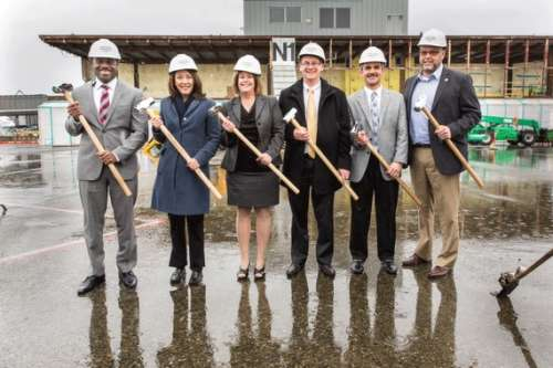 From left to right, Lance Lyttle, managing director, Sea-Tac Airport, Port of Seattle; U.S. Senator Maria Cantwell; Port of Seattle Commissioner Stephanie Bowman, Andrew Harrison, EVP chief commercial officer, Alaska Airlines; Jim Pappas, VP, Hensel Phelps; Monty Anderson, Seattle Building and Construction Trades Council.