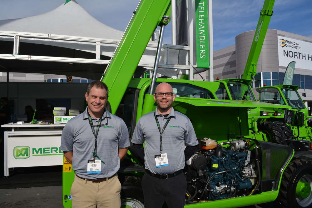 Territory Managers Troy Motz (L) and Craig DeKarske were on hand to answer questions about the Merlo line of telehandlers. AppliedMachinery Sales of Rock Hill, S.C., is the exclusive importer of Merlo and operates under the name AMS-Merlo.