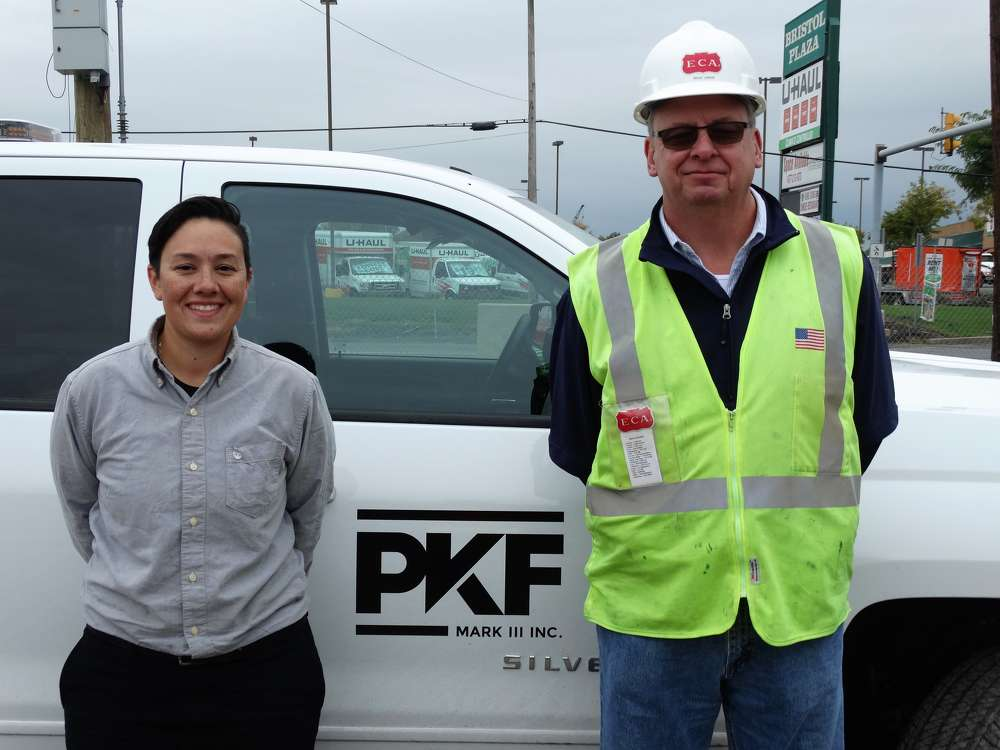 PKF-Mark III Piling Superintendent Sabrina Villanti and ECA New York/New Jersey Regional Sales Manager Bruce Langan worked closely to keep the RTG pile driving rigs operating at peak performance on the PA Turnpike/I-95 Interchange Project.
