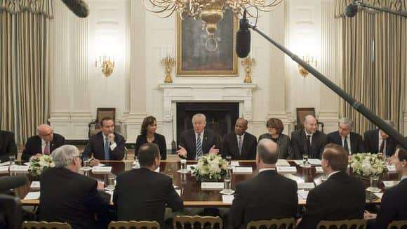 President Trump speaks Feb. 9, 2017, during a meeting with airline and airport executives in the State Dining Room of the White House in Washington, D.C. (Photo: SAUL LOEB, AFP/Getty Images)