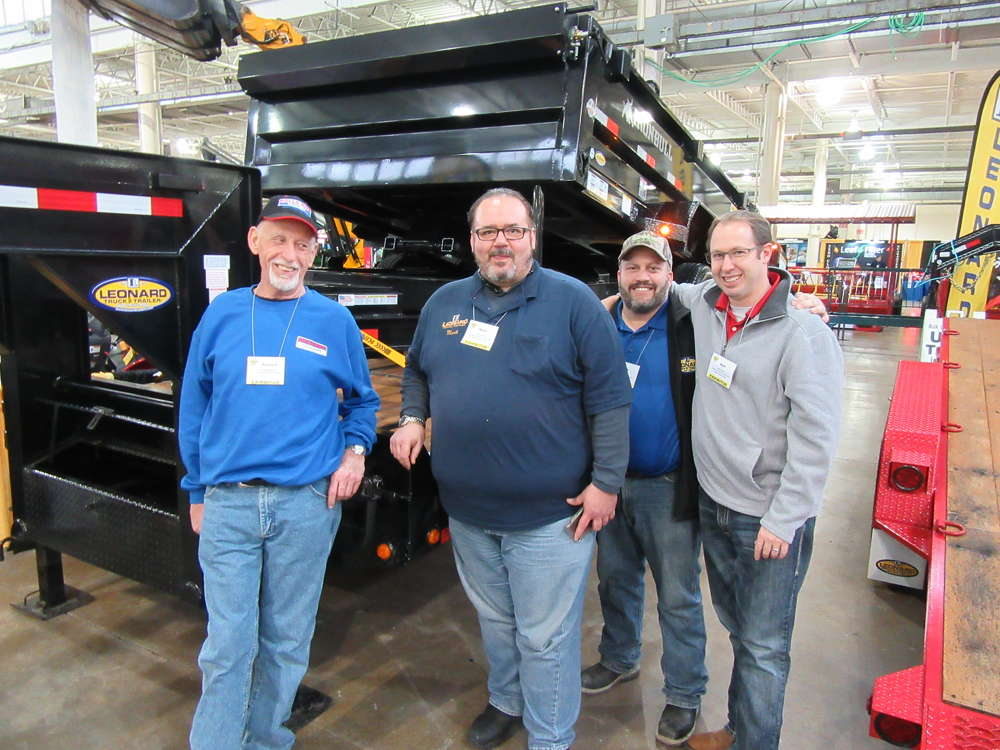 (L-R): Richard Dunlap, Mark Reed, Marty Bonnot, and Matt Pavone, Leonard Truck & Trailer, welcome attendees to their display of trailers.