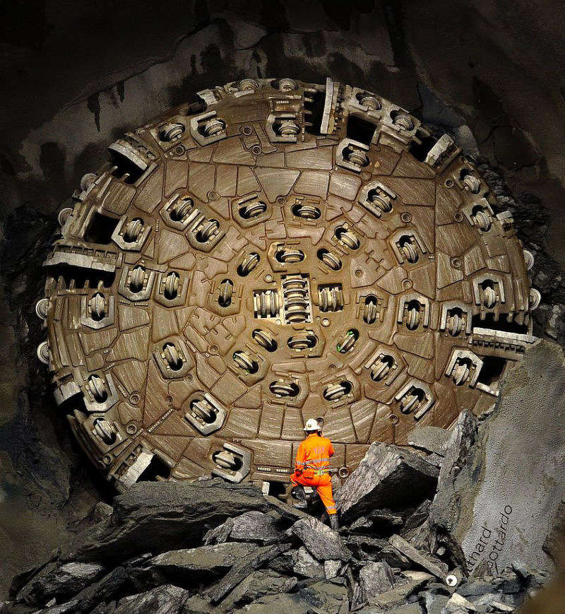 The boring machine. Fabrice Coffrini/AFP/Getty Images.