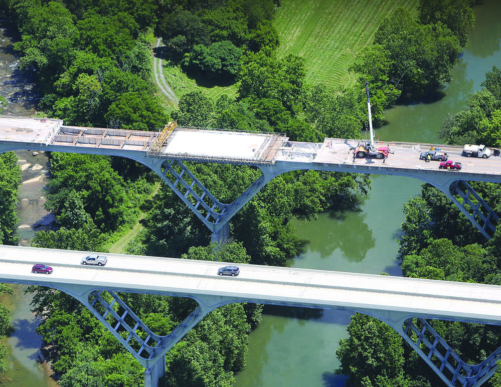 SkyShots Photography photo The bridges have a steel frame support and are called delta frame bridges because of the shape of the structural steel support frame, which is an inverted triangle or Greek letter delta.