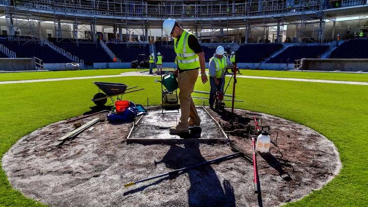 The pitchers mound work was completed in early January and ready for teams to start their Spring Training by mid February. (Richard Graulich / The Palm Beach Post)