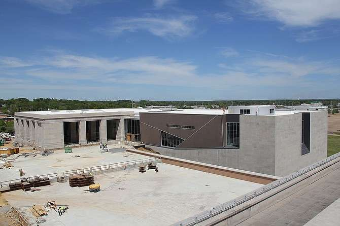 The Museum of Mississippi History (on the left) and the Civil Rights Museum (on the right) are set to open in December 2017. Photo from MDAH