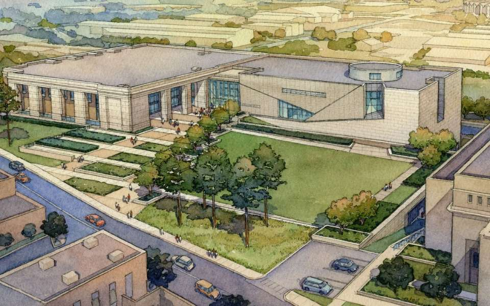 Architect's rendering of the Museum of Mississippi History (at left) and Mississippi Civil Rights-  Mississippi Department of Archives & History