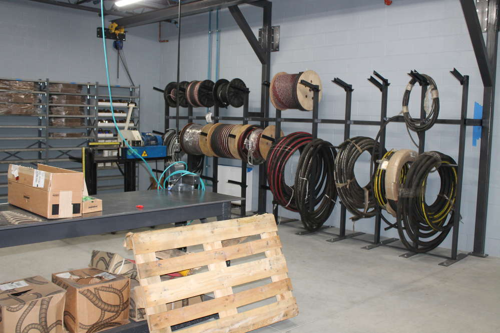 Equipment East's full service, on-site hydraulic hose room.