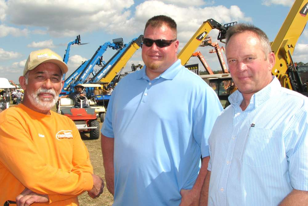 Some West Coast boys are looking for some machine bargains, (L-R) including Ed Morales, On The Road Trucking, Los Angeles, Calif.; Joe Rexin, Rexin Equipment, Los Angeles; and Mark Mahnen, Wyoming Machinery, Casper, Wyo.