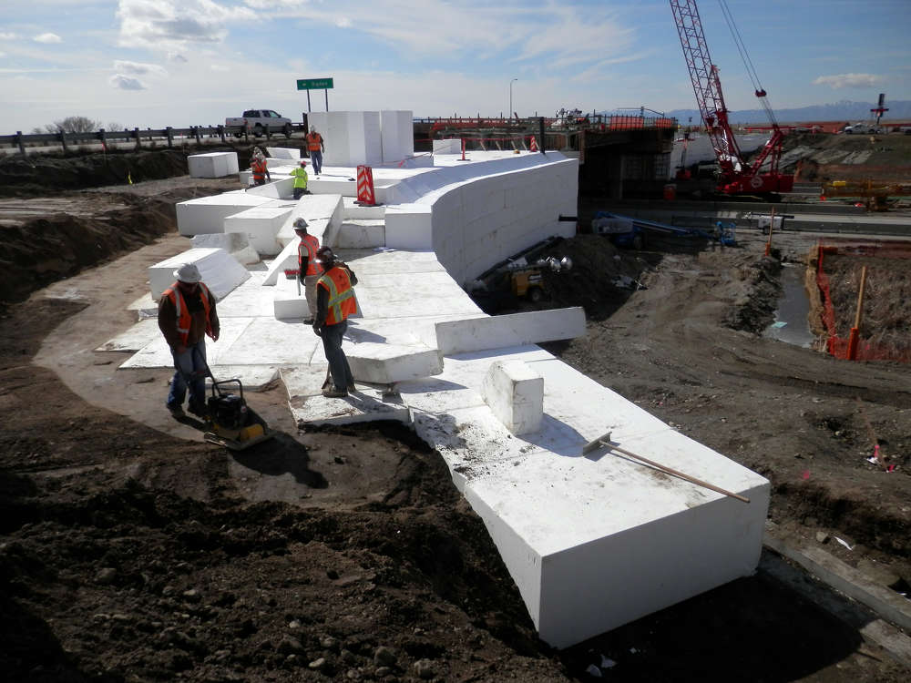 General Contractor, Ralph L. Wadsworth, worked with ACH Foam Technologies and EPS Geofoam engineer, Marvin Cook, to develop a precise configuration plan for the Geofoam blocks, which were installed by hand during construction.
