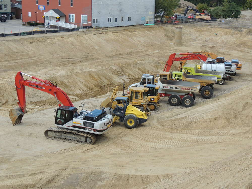 Jeremy Hiltz Excavating uses a variety of equipment on a job site in Nashua, N.H.